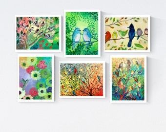 Colorful Birds - Blank Note Card Set by Jenlo