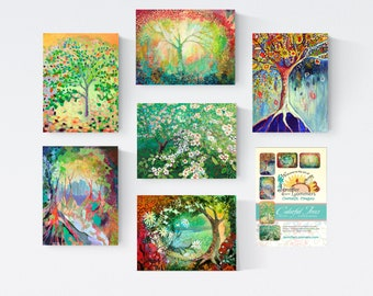 Colorful Trees set D - Blank Note Cards by Jenlo