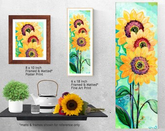 Modern Sunflower Trio - Fine Art Print by Jenlo