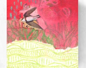 Alone - ORIGINAL Mixed Media Sampler Bird Art #003 by JENLO