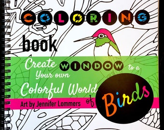 Window of Birds - a Coloring Book of Flowers and Birds from art by Jenlo