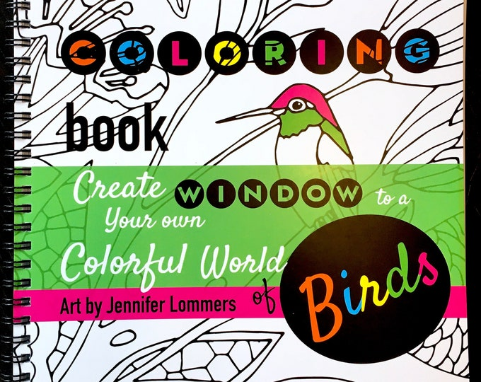 Featured listing image: Window of Birds - a Coloring Book of Flowers and Birds from art by Jenlo
