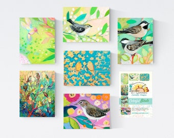Colorful Birds Set B - Blank Note Cards by Jenlo