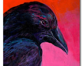 Raven in Pink - Print on Wood by Jenlo