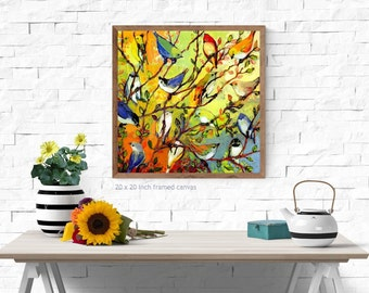 "Modern Nature Art - ""16 Birds"" - Fine Art Print by Jenlo"