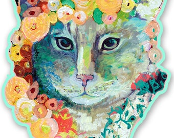 Cat and Flowers 3 x 4 inch Vinyl Sticker by Jenlo