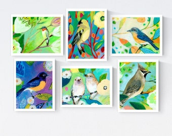 NeverEnding Story Colorful Birds set A - Blank Note Cards by Jenlo