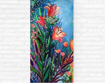 Midnight Garden - ORIGINAL Modern Floral Hummingbird Painting, 15x30 by JENLO