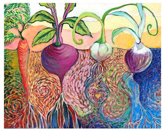 Modern Vegetable Garden - Art Print by Jenlo