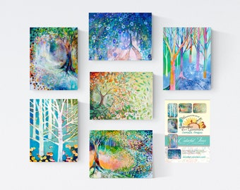 Colorful Trees set C - Blank Note Cards by Jenlo