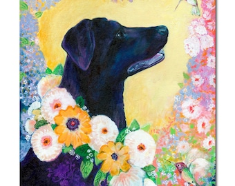 Lab Love - Dog and Hummingbirds Fine Art Print by Jenlo