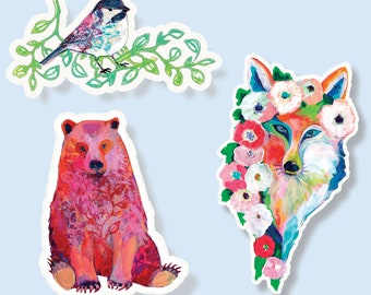 Vinyl Sticker Wildlife Set of 3 by Jenlo