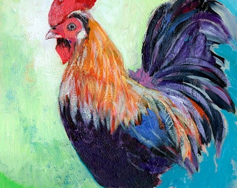 "Modern Farm Animal Art - ""Colorful Rooster"" - Art Print by Jenlo"