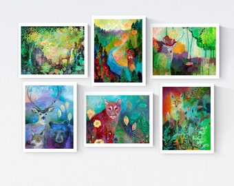 Colorful Wildlife - Blank Note Card Set by Jenlo