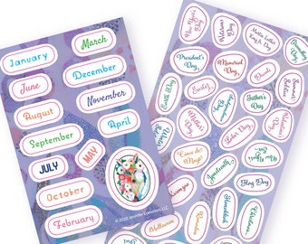 Calendar Month and Holiday Sticker Sheets by Jenlo