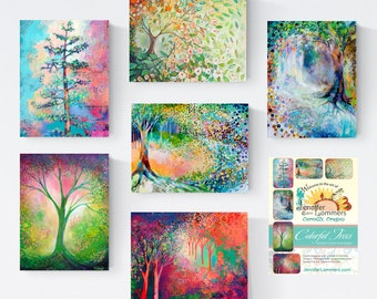 Colorful Trees set A - Blank Note Cards by Jenlo