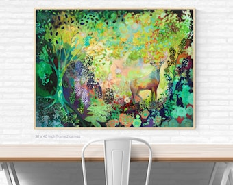 Green Forest and Stag Abstract -  Print by Jenlo
