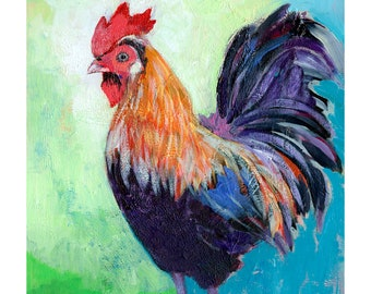Colorful Rooster - ORIGINAL Painting on 11x14 Wood Panel by JENLO