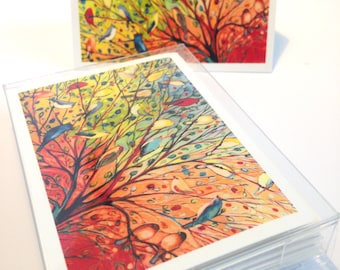 27 Birds - set of 6 Folding Card Enclosures by Jenlo