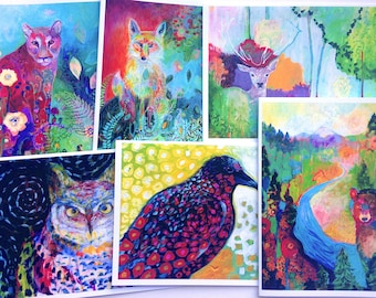 Colorful Wildlife - set of Blank Note Cards by Jenlo