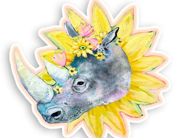 Flowers for Rhino 4 inch Vinyl Sticker by Jenlo