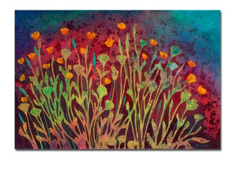 A Poppy Tapestry - modern ORIGINAL Floral Painting, 24x36 by JENLO