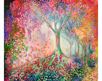 Tree of Celebration - modern ORIGINAL abstract Painting, 36x36 by JENLO