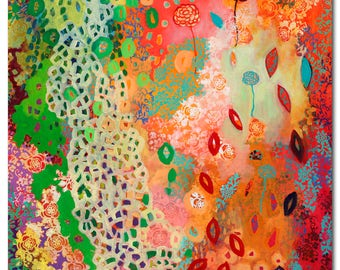 Love Knows No Bounds - ORIGINAL Floral Abstract Painting, 36x48 by JENLO