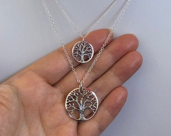 Oakland Love Necklace, Oakland tree necklace, textured tree of life pendant necklace - sterling silver