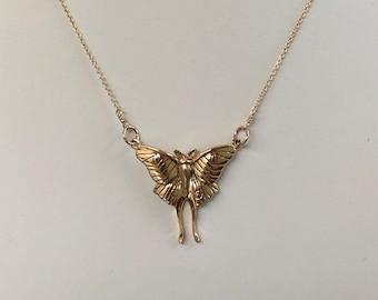 Luna moth necklace, bronze moth necklace, gold filled necklace, festoon necklace, moth festoon necklace