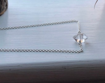 Herkimer diamond necklace - sterling silver or gold filled, custom length, April birthstone, raw crystal necklace