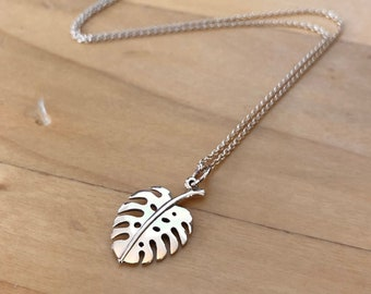 Monstera charm necklace, gold monstera necklace, succulent necklace, monstera leaf necklace, sterling silver monstera necklace