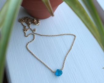 Genuine apatite gemstone necklace - gold necklace, neon blue gemstone necklace, apatite necklace, gold apatite necklace