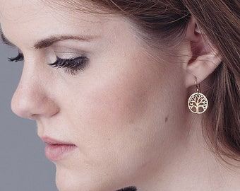 Oakland Love Earrings, Tree of Life Earrings, gold tree of life earrings, Oakland tree earrings, silver tree earrings
