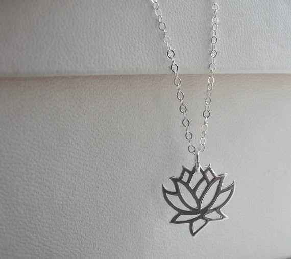 Lotus Flower Necklace Sterling Silver Necklace Sterling Etsy