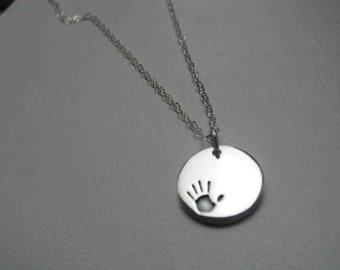 handprint necklace, sterling silver handprint necklace, mom necklace, mom gift, miscarriage loss gift