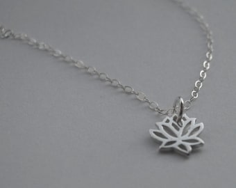 small lotus flower sterling silver necklace - for charity