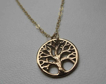 Oakland Love Necklace, Oakland tree necklace, textured tree of life pendant necklace - bronze charm on gold filled chain