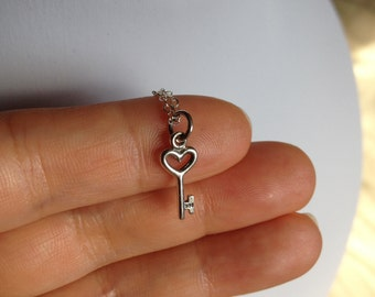 Small key necklace, heart key necklace, sterling silver key necklace for charity