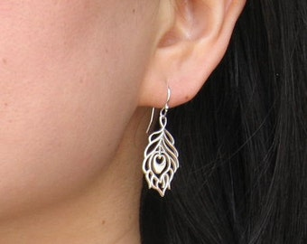 Peacock Feather sterling silver earrings - jewelry for charity, hand made in the usa