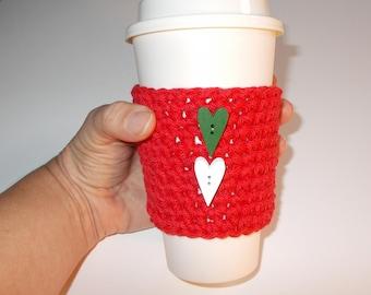 Christmas Coffee Cozy, Stocking Stuffer, Crochet Coffee Sleeve, Heart Cozy, Teacher Gift, Coffee Tea Lover Gift, Reusable Coffee Sleeve