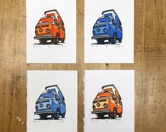 Pop a Top - 2.5x3 Limited Edition Reduction VW Camper Bus Letterpress Print