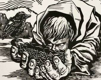 St. Kevin and the Fledgling - 8.5x8.5 Letterpress Linocut
