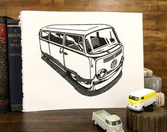Bay Window VW Bus - 8x10 letterpress linocut