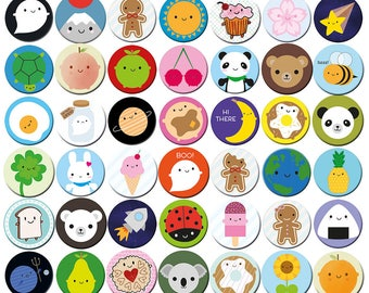 Pick and Mix Kawaii Badges - choose any 1, 2, 4 or 10 designs - Cute Pins & Button Badges - Food, Animals, Space, Christmas, Halloween