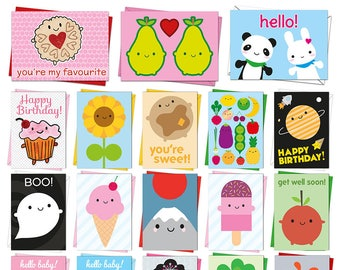 Pick & Mix Kawaii Cards - Birthday, Greetings, Congratulations, Good Luck, New Baby, Christmas, Halloween