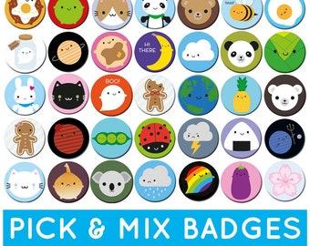 Pick & Mix Kawaii Badges - choose any 2, 4 or 10 designs