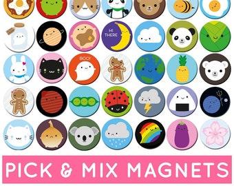 Pick & Mix Kawaii Fridge Magnets - choose any 2 or 4 designs