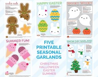 FIVE Kawaii Printable Garlands - Christmas, Halloween, Easter, Summer & Winter