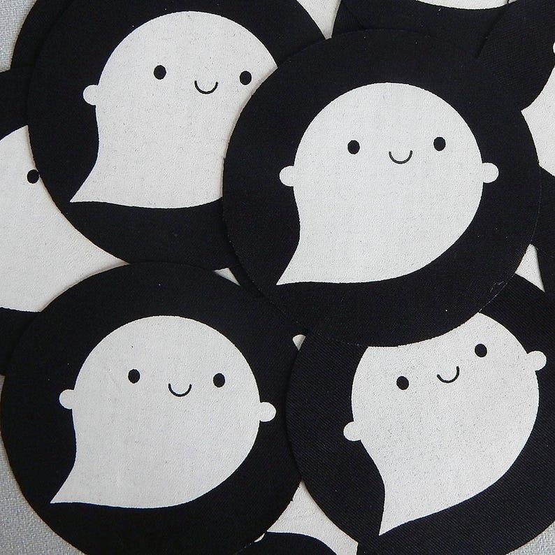 Little Ghost Fabric Patch Kawaii Halloween Screen Printed Etsy